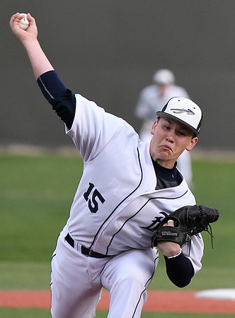 Enid's Braden Pierce delivers a pitch against Broken Arrow Monday March 26, 2018 at David Allen Memorial Ballpark. (Billy Hefton / Enid News & Eagle)
