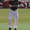 NOC Enid's Clayton Peterson does a dance on second base after hitting a double against Butler CC Tuesday March 6, 2018 at David Allen Memorial Ballpark. (Billy Hefton / Enid News & Eagle)