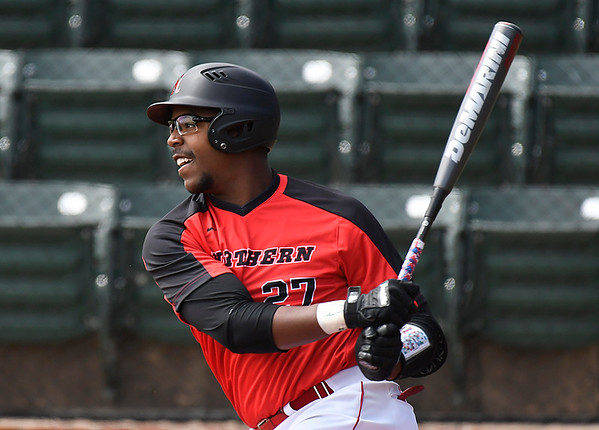 NOC Enid's E.J. Taylor hits a RBI double against NE Nebraska Saturday March 17, 2018 at David Allen Memorial Ballpark. (Billy Hefton / Enid News & Eagle)