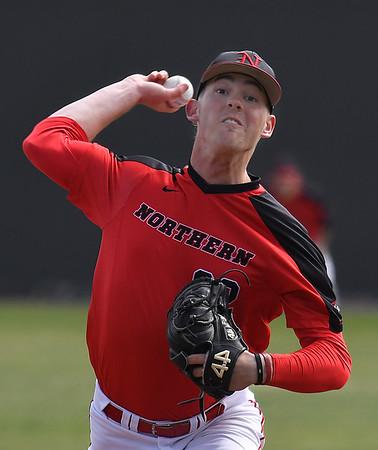 NOC Enid's Cooper Harris delivers a pitch against NE Nebraska Saturday March 17, 2018 at David Allen Memorial Ballpark. (Billy Hefton / Enid News & Eagle)