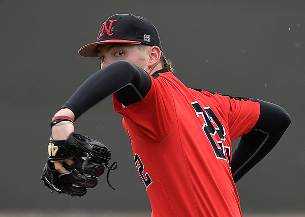 NOC Enid's Cooper Harris delivers a pitch against Rose State Monday March 26, 2018 at David Allen Memorial Ballpark. (Billy Hefton / Enid News & Eagle)