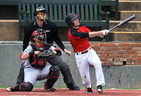 NOC Enid's Clayton Peterson watches the ball as he hits a home run against NE Nebraska Saturday March 17, 2018 at David Allen Memorial Ballpark. (Billy Hefton / Enid News & Eagle)