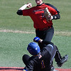 NOC Enid's Tyler Wood throws over Northern Iowa Area CC's Fox Leum to complete doulble play Monday March 12, 2018 at David Allen Memorial Ballpark. (Billy Hefton / Enid News & Eagle)