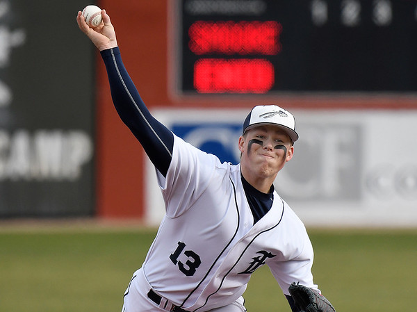 Enid's Brett Russell delivers a pitch against Southmoore during the Plainsmen's home opener Monday March 11, 2019 at David Allen Memorial Ballpark. (Billy Hefton / Enid news & Eagle)