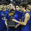 Hennessey's Cooper Fuksa holds the runner-up trophy following the Eagles loss to Rejoice Christian in the Class 2A state championship game Saturday March 9, 2019 at the Sate Fair Arena in Oklahoma City. (Billy Hefton / Enid News / Eagle)