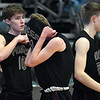 Pioneer's Eli Frazee buries his head in his jersey following the Mustang's 60-35 loss to Luther in an elimination game in the Class 2A Area I tournament Friday March 1, 2019 at the Central National Bank Center. (Billy Hefton / Enid News & Eagle)