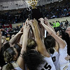 Seiling players lift the state championship trophy following the Lady Cats' 76-41 win over Hydro-Eakly in the Class A state championship game Saturday March 2, 2019 at the State Fair Arena in Oklahoma City. (Billy Hefton / Enid News & Eagle)