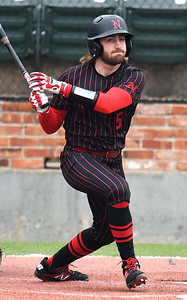NOC Enid's Seth Graves hits a double against Ellsworth CC Friday March 8, 2019 at David Allen Memorial Ballpark. (Billy Hefton / Enid News & Eagle)