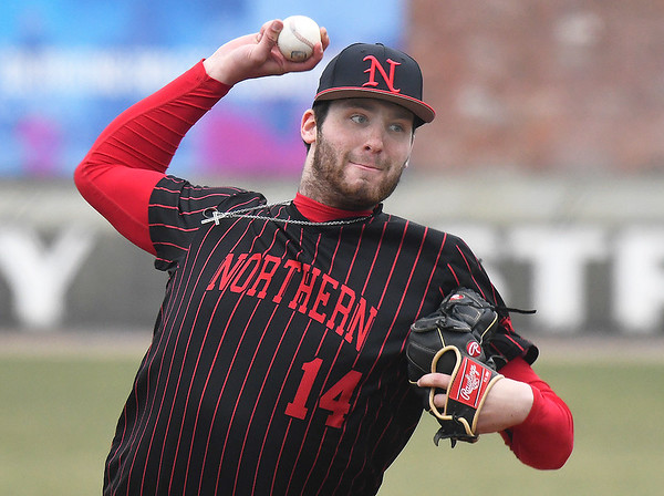 NOC Enid's Evan Kowalski delivers a pitch against Ellsworth CC Friday March 8, 2019 at David Allen Memorial Ballpark. (Billy Hefton / Enid News & Eagle)