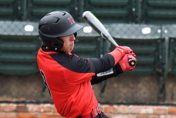 NOC Enid's Shane Nixon connects on a homerun against Kansas Wesleyan Thursday March 14, 2019 at David Allen Memorial Ballpark. (Billy Hefton / Enid News & Eagle)