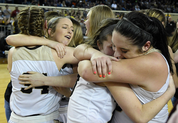 Seiling player embrace following the Lady Cats' 76-41 win over Hydro-Eakly in the Class A state championship game Saturday March 2, 2019 at the State Fair Arena in Oklahoma City. (Billy Hefton / Enid News & Eagle)