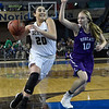 Seiling's Karly Gore drives towards the basket against Hydro-Eakly's Rees Berkey during the Lady Cats' 76-41 win over Hydro-Eakly in the Class A state championship game Saturday March 2, 2019 at the State Fair Arena in Oklahoma City. (Billy Hefton / Enid News & Eagle)