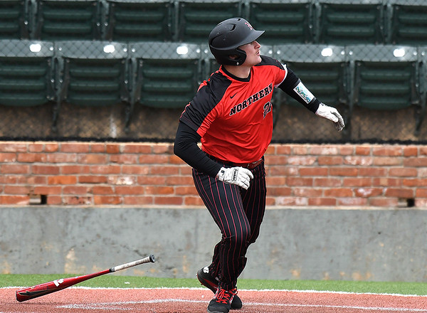 NOC Enid's Tanner Neely watches the ball as it clears the fence for a homerun against Kansas Wesleyan Thursday March 14, 2019 at David Allen Memorial Ballpark. (Billy Hefton / Enid News & Eagle)