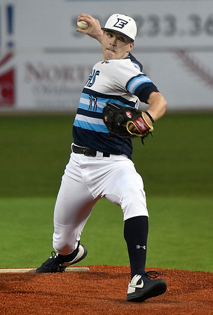 Enid's Blake Priest delivers a pitch against Bartlesville during the home opener Monday March 2, 2020 at David Allen Memorial Ballpark. (Billy Hefton / Enid News & Eagle)