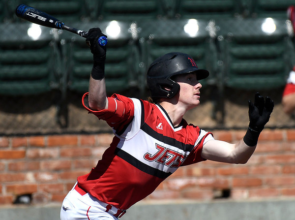 NOC Enid's Ambren Voitik bats against NIACC Tuesday, March 10, 2020 at David Allen Memorial Ballpark. (Billy Hefton / Enid News & Eagle)