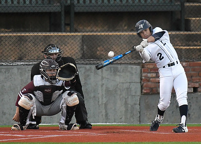 Enid's Will Slater hits a single against Edmond Memorial Monday, March 9, 2020 at David Allen Memorial Ballpark. (Billy Hefton / Enid News & Eagle)