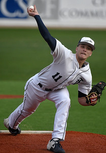 Enid's Blake Priest delivers a pitch against Edmond Memorial Monday, March 9, 2020 at David Allen Memorial Ballpark. (Billy Hefton / Enid News & Eagle)
