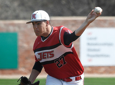 NOC Enid's Dylan Turner delivers a pitch against NIACC Tuesday, March 10, 2020 at David Allen Memorial Ballpark. (Billy Hefton / Enid News & Eagle)
