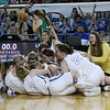 The Lomega girls celebrate their win over Varnum in the Class B state championship game Saturday, March 7, 2020 at the State Fair Arena in Oklahoma City. (Billy Hefton / Enid News & Eagle)