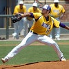 LSU-Eunice's Zac Person delivers a pitch against Heartland during a winners bracket game Thursday in the NJCAA Div II World Series at David ALlen Ballpark. Person pitches a complete game shut out in the Bengals 8-0 run rule victory. (Staff Photo by BILLY HEFTON)