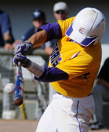 LSU-Eunice Bengal's Casey Rodrigue connects for a single during the 75th annual World Series Division II game against Lackawanna College at David Allen Memorial Ballpark Saturday, May 25, 2013. (Staff Photo by BONNIE VCULEK)