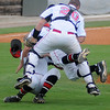 NOC Enid Jets' Chase Knott, Rowdy Dove and Aaron McCandless collide on an infield catch during the game against the Tonkawa Mavs at David Allen Memorial Ballpark Friday, May 3, 2013. (Staff Photo by BONNIE VCULEK)