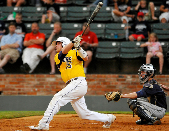 LSU-Eunice's Buddy McCoy connects on a home run against Madison Friday at David Allen Ballpark. (Staff Photo by BILLY HEFTON)