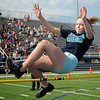 Prairieview Buffalo Talyn Salyer competes in the high jump competition at the 73rd annual Kiwanis Little Olympics for Enid Elementary Schools at D. Bruce Selby Stadium Wednesday, May 8, 2013. (Staff Photo by BONNIE VCULEK)