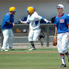 Murray State's Brance Kahle  walks off the field after North Iowa's Hunter King hit a home run in the bottom of the 11th inning to beat the Aggies 7-6 Monday in the NJCAA Div II World Series Monday at david Allen Ballpark. (Staff Photo by BILLY HEFTON)