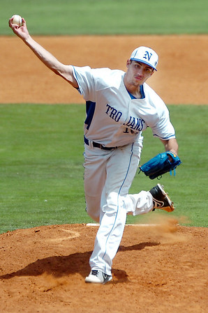 North Iowa's Lucas Bakker delivers a pitch against Murray State Monday during in the NJCAA Div II World Series Monday at David Allen Ballpark. (Staff Photo by BILLY HEFTON)