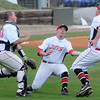 NOC Enid Jets' (from left) Aaron McCandless, Chase Knott and Rowdy Dove hustle for an infield fly before they collide near the pitching mound during a game against the Tonkawa Mavs at David Allen Memorial Ballpark Friday, May 3, 2013. (Staff Photo by BONNIE VCULEK)