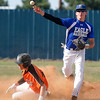 Hennessey's Matthew Mills throws over Justin Scott of Cheyenne after a force out at second during the regional tournament Friday at Hennessey High School. (Staff Photo by BILLY HEFTON)