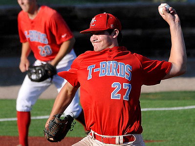 Mesa CC's Nick Schuman delivers a pitch against Hinds CC Thursday as the T-Birds run rules the Eagles 12-0 in 5 innings in the NJCAA DII World Series at David Allen Memoral Ballpark. (Staff Photo by BILLY HEFTON)
