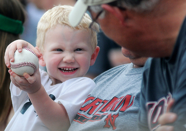 Jagger Worman shows off his NJCAA Division II World Series souvenir given to him by an NOC Enid Jet Saturday, May 24, 2014. (Staff Photo by BONNIE VCULEK)