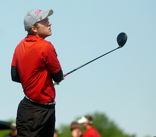 OBA's Josh Barnthouse watches ball sail from Oakwood Country Club's No. 10 tee box during the OSSAA Class 2A State Golf Tournament Tuesday, May 13, 2014. (Staff Photo by BONNIE VCULEK)