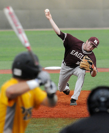 Hinds Community College's Houston Case pitches to a Pasco-Hernando State College batter during the Vikings' 9-4 win over the Conquistadors in the NJCAA Division II World Series at David Allen Memorial Ballpark in Enid, Okla. Tuesday, May 27, 2014. (Staff Photo by BONNIE VCULEK)