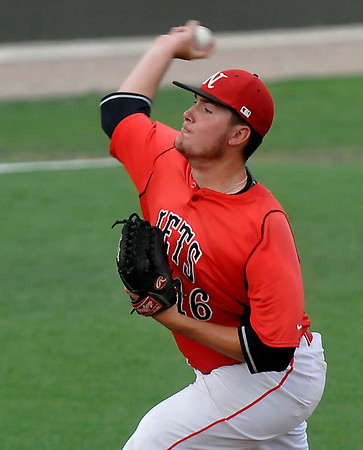 NOC Enid's Austin Hilton delivers a pitch against Longview during the Plains District Tournament Friday at David Allen Memorial Ballpark.  (Staff Photo by BILLY HEFTON)