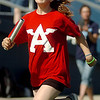Shawna Mootz, from Adams Elementary School, sprints the first leg during the 4 x 100 race at the Little Olympics competition in D. Bruce Selby Stadium Wednesday, May 7, 2014. Mootz, Breeasha Shaver, Samantha Holden and Anna Jorlang won the relay. (Staff Photo by BONNIE VCULEK)