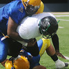A Rose Hill Zombie fumbles the ball behind the line of scrimmage as Enid Enforcers' Squire Logan (31) and Mathew Kirkman (30) strip the ball during playoff football action at D. Bruce Selby Stadium Saturday, May 31, 2014. (Staff Photo by BONNIE VCULEK)