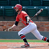 NOC Enid's Korbin Polston connects on a rbi double against Hesston during the Plains District Tournament Friday at David Allen Memorial Ballpark.  (Staff Photo by BILLY HEFTON)