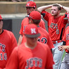 NOC Enid Jets' pitcher, John Chidester (top right), reacts after Southeastern Community College's Dan Ferguson hit a two-run homerun over the left field wall to give the Blackhawks a 3-2 win over the Jets in the bottom of the 10th inning during the NJCAA Division II World Series at David Allen Memorial Ballpark Saturday, May 24, 2014. (Staff Photo by BONNIE VCULEK)