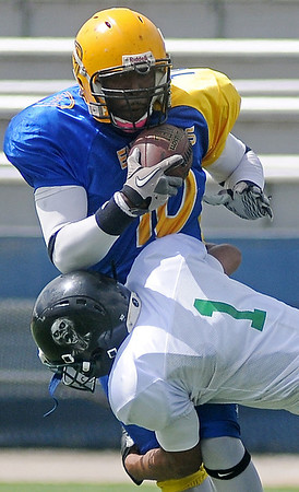 Enid Enforcers' Taron Covington (top) makes a one-handed catch against the Rose Hill Zombies during playoff action at D. Bruce Selby Stadium Saturday, May 31, 2014. (Staff Photo by BONNIE VCULEK)