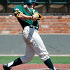Arkansas Tech's Sage Boehner gets a hit against SWOSU during the Great American Conference Tournament Sunday at David Allen Memorial Ballpark. (Staff Photo by BILLY HEFTON)