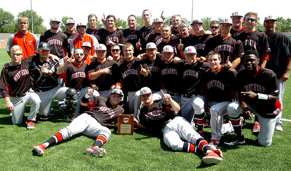 NOC Enid Jets celebrate their win against Hesston College Larks at David Allen Memorial Ballpark Saturday, May 17, 2014. (Staff Photo by BONNIE VCULEK)