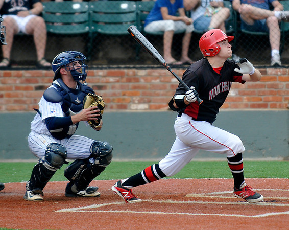 NOC Enid's Russ Colgan connects on a home run against Westchester CC Sunday during a elimnation game of the NJCAA DII World Series at David Allen Memorial Ballpark. (Staff Photo by BILLY HEFTON)