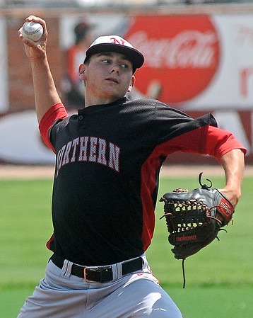 NOC Enid's Bret McNaughton pitches in relief during the twelfth inning against Hesston at David Allen Memorial Ballpark Saturday, May 17, 2014. The Jets defeated the Larks 1-0 and will appear in the NJCAA College World Series next week in Enid. (Staff Photo by BONNIE VCULEK)