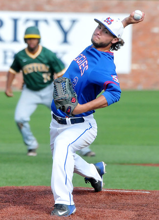 Murray State's Brayden Boyd pitches during a NJCAA Region II game against Western Oklahoma State at David Allen Memorial Ballpark Sunday, May 10, 2015. (Staff Photo by BONNIE VCULEK)