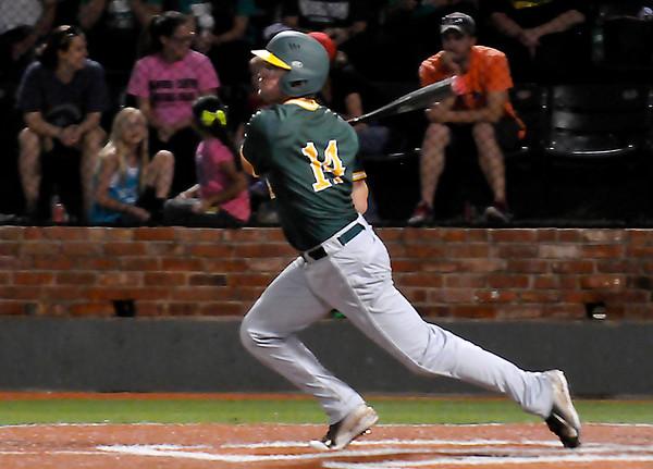 Western Oklahoma's Blake Clanton bats against Catawba Valley Friday during the NJCAA Div II World Series at David Allen Ballpark. (Staff Photo by BILLY HEFTON)