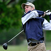 Enid's Haskell Henson hits a tee shot on the 3rd hole Monday May 2, 2016 at Meadowlake Golf Club during the afternoon session of a 6A regional golf tournament. (Billy Hefton / Enid News & Eagle)