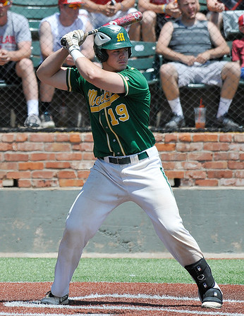 Mercer CC catcher, Robert Boselli, bats against Western Oklahoma Monday May 30, 2016 during the NJCAA DII World Series at David Allen Ballpark. (Billy Hefton / Enid News & Eagle)
